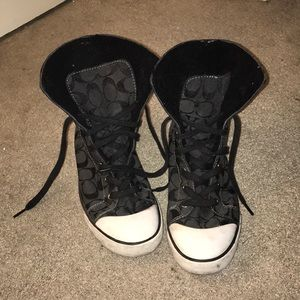 Coach High Top Folder Over Sneakers with faux fur